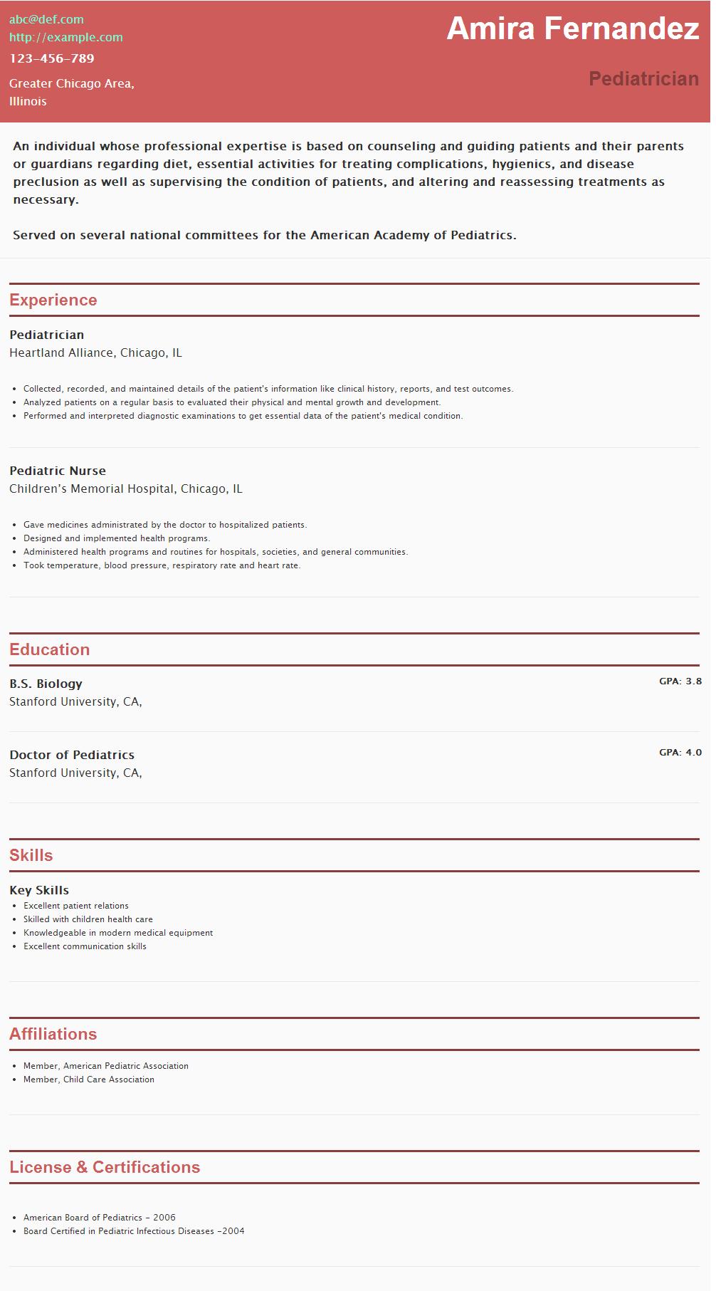 Resume for Pediatrician