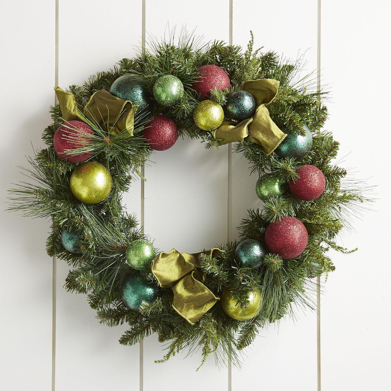 Jewel tone ornament wreath christmas pinterest wreaths and jewel tone ornament wreath not at all hard to do yourself solutioingenieria Gallery