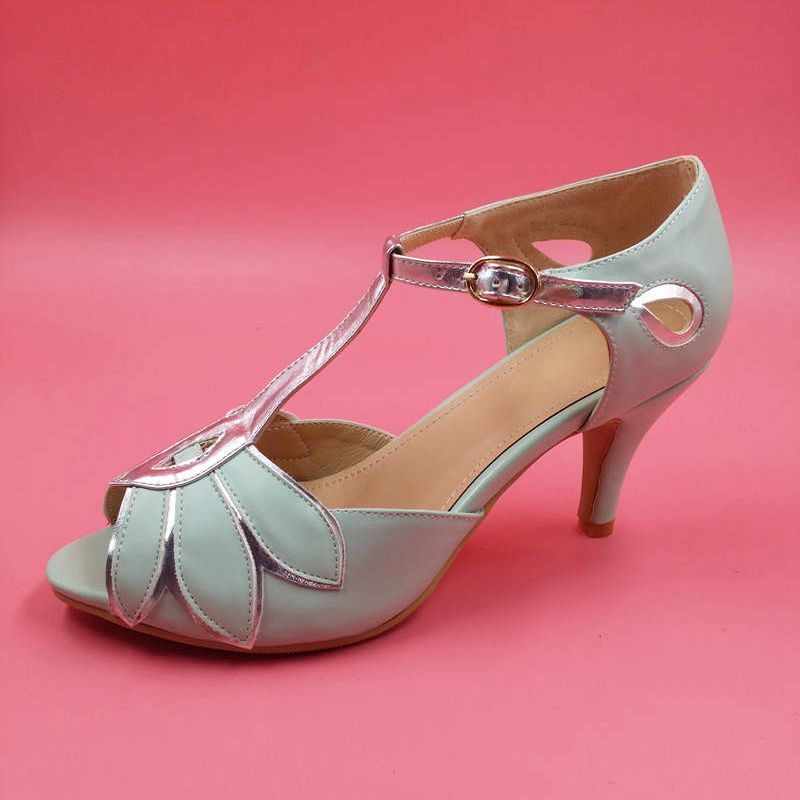 0b0eeda8e42 Vintage Mint Wedding Shoes Wedding Pumps Mimosa T-Straps Buckle Closure  Leather Party Dance 3