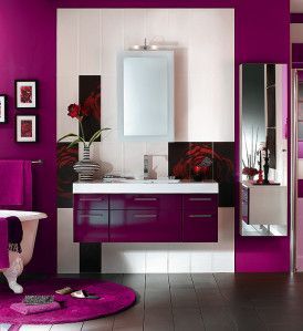 salle d 39 eau violet recherche google girly bathrooms. Black Bedroom Furniture Sets. Home Design Ideas