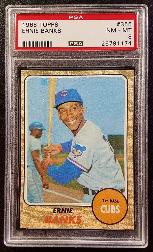 1968 Topps 355 Ernie Banks PSA 8 Near MintMint Card Cubs