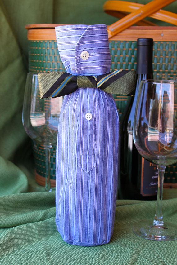 Wine Bottle Sleeve - Blue White Stripes with Corporate Navy Bow Tie - Upcycle Gift Bag
