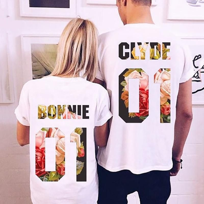 Fashion Clyde Bonnie Print Couple T Shirt Bonnie And Clyde Shirts Couple Shirts Couple T Shirt
