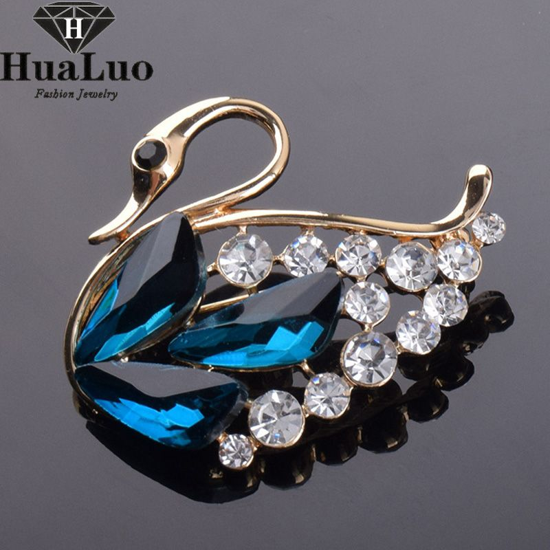 Korea Trendy Red/Blue/Purple Crystal Swan Brooch Rhinestone Fashion Suit Shirt Collar Pin Brooches For Women ZYXW99-101