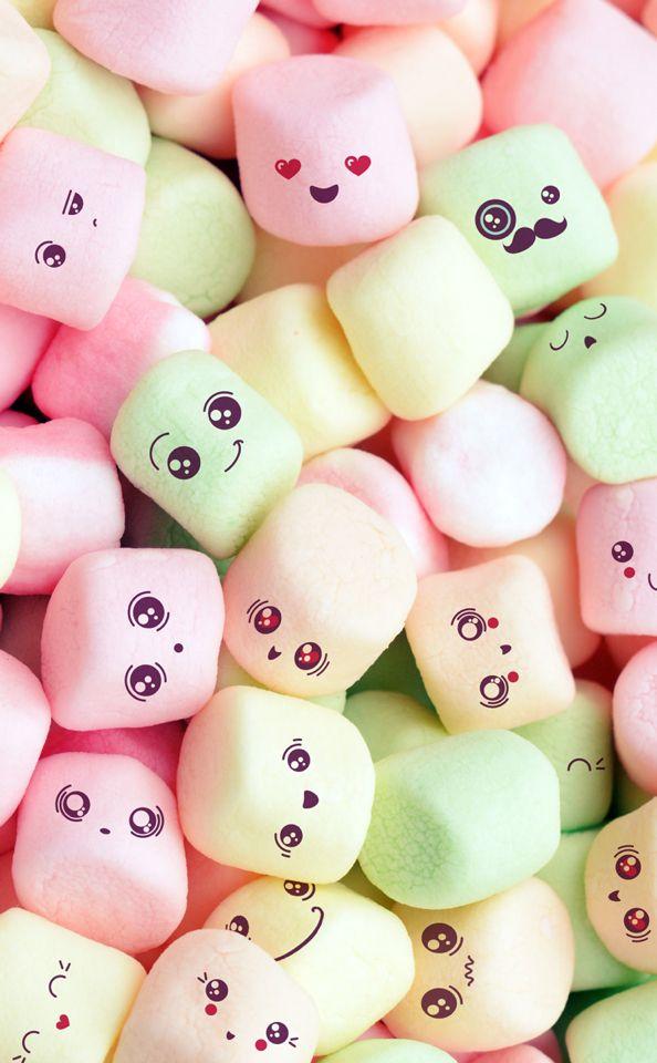 marshmallow kawaii arts food wallpaper, iphone wallpaper, cutemarshmallow kawaii marshmallow kawaii cute food wallpaper
