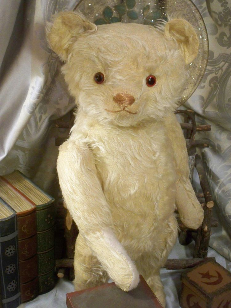 Antique 1925 First Knickerbocker Teddy Bear Large 21 Quot White Long Mohair Version Knickerbocker