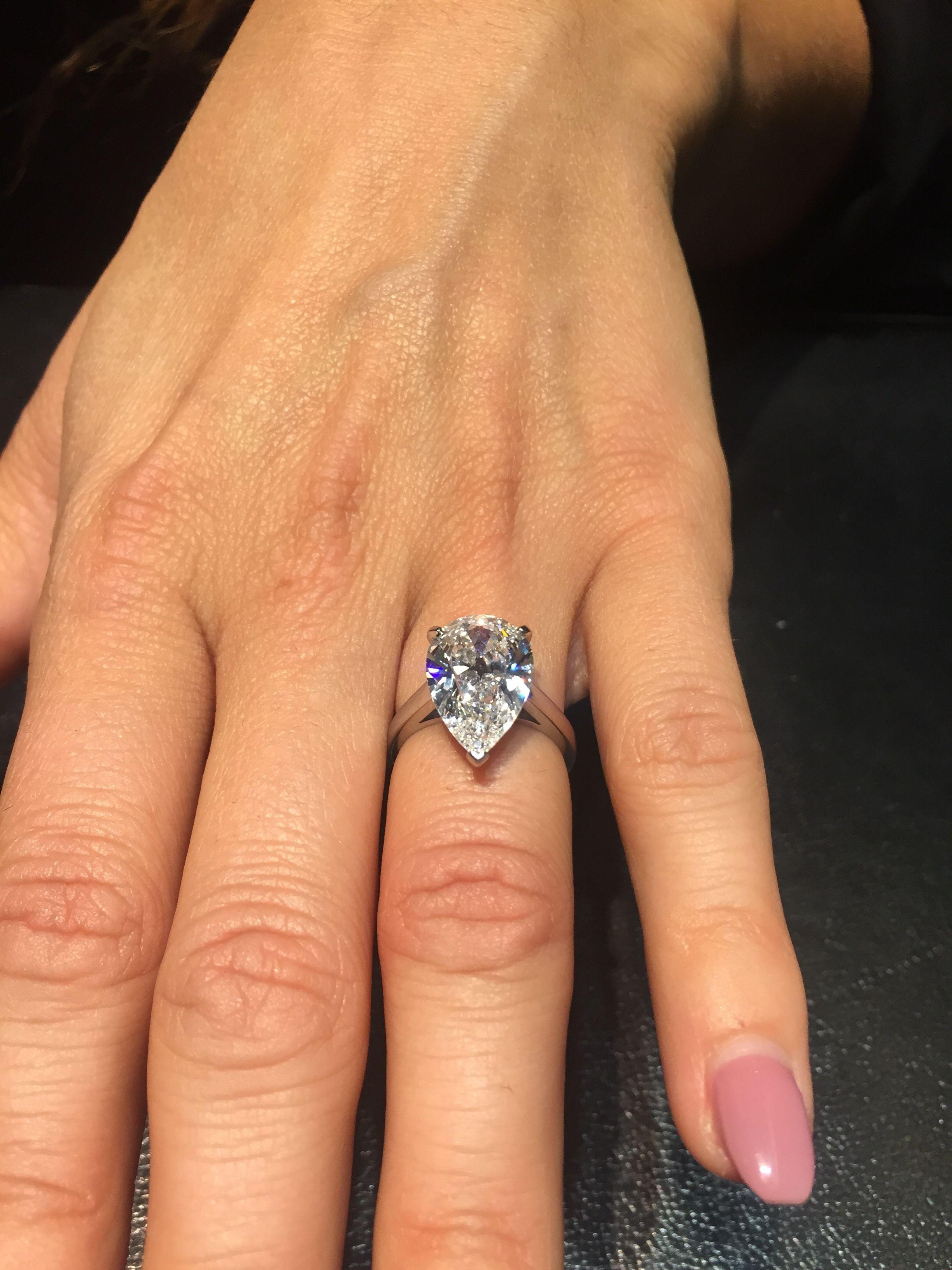 6 Carat Pear Diamond Engagement Ring 647 000 Prettys In