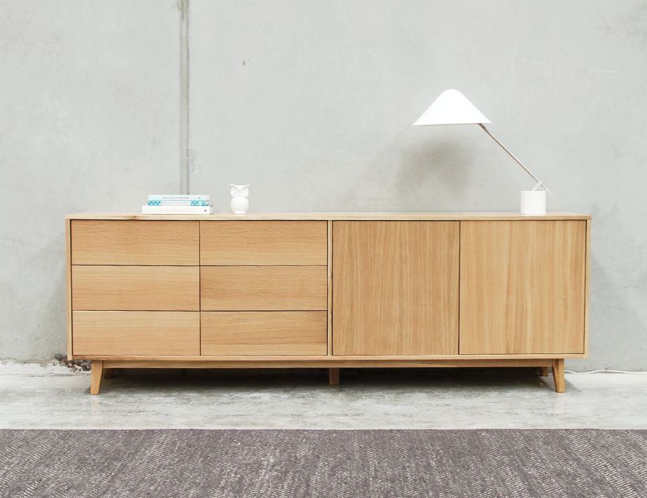 Copenhagen Solid European Oak Sideboard Buffet 220cm By Bent