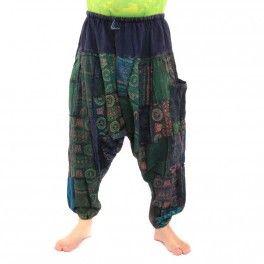 Pantalón patchwork Aladin ॐ algodón elástico con bolsillo lateral