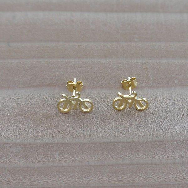Cute Black Bike Bicycle Gold Earrings Unusual Jewellery New