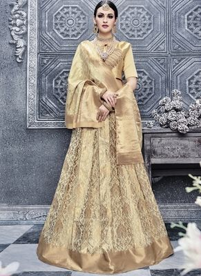 a62a581727 Cream hand woven jacquard unstitched lehenga with dupatta at Mirraw Indian  Suits, Indian Dresses,