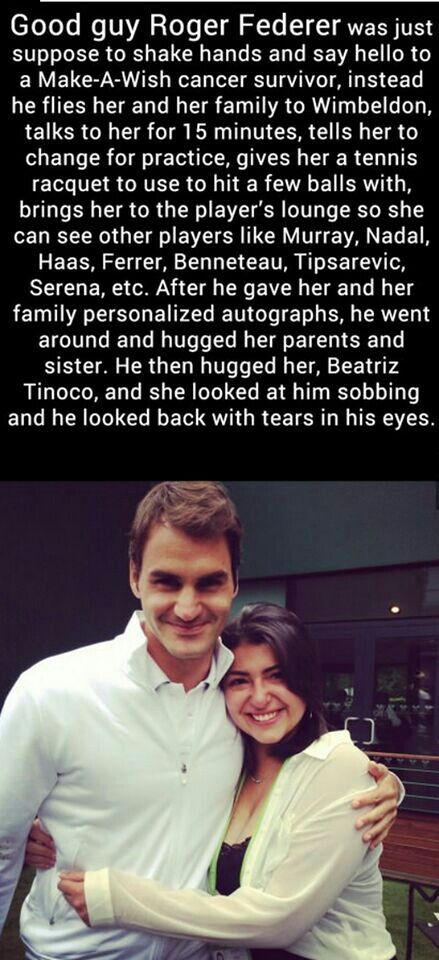 Not only a great tennis player, but also a beautiful human being that cares about others <3