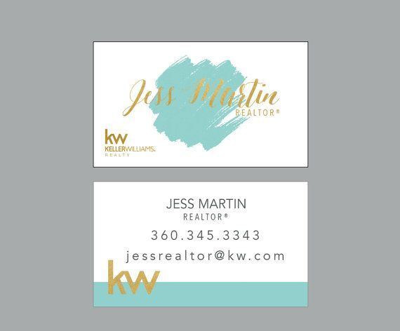 Watercolor Card Modern Realtor Business Cards Real Estate Ideas Branding Gold Keller Williams By Ladyluckpr Design
