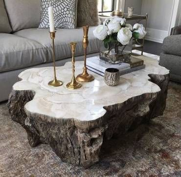 Trunk Shaped Clam Shell Lava Coffee Table Stonecast Top With Inlaid  Fossilized Clam Shell On Stonecast Base Made To Resemble Tree Trunk Each  Piece Varies ...