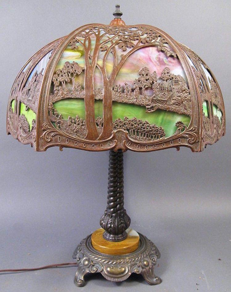 Slag glass lamp price good bent slag glass scenic table lamp slag glass lamp price good bent slag glass scenic table lamp note mozeypictures Images