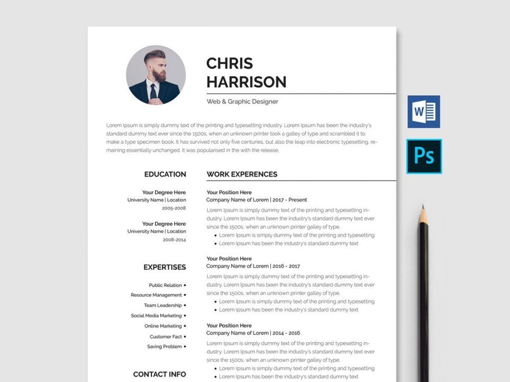 Professional Resume Template Free Download Word Psd Desain Cv Cv Kreatif Tips Blogging