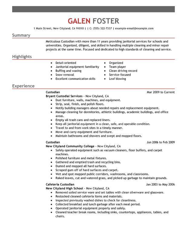 professional janitor resume sample