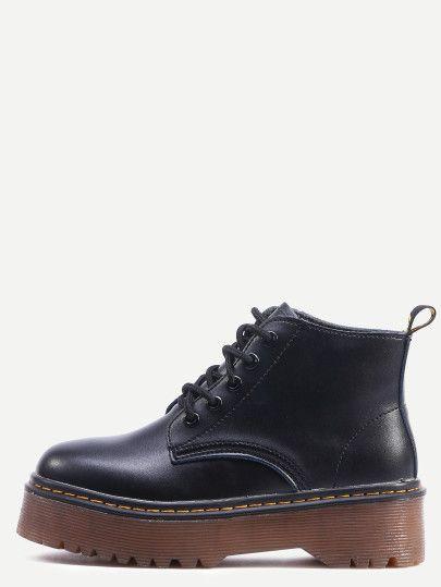 Botines con cordones pu plataforma - negro  60be9858b699