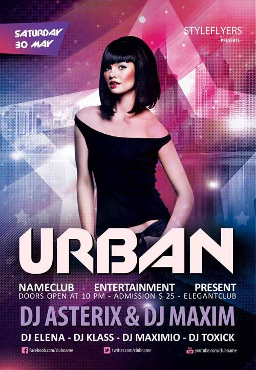 Urban Club Party Free Flyer Template  Student    Free