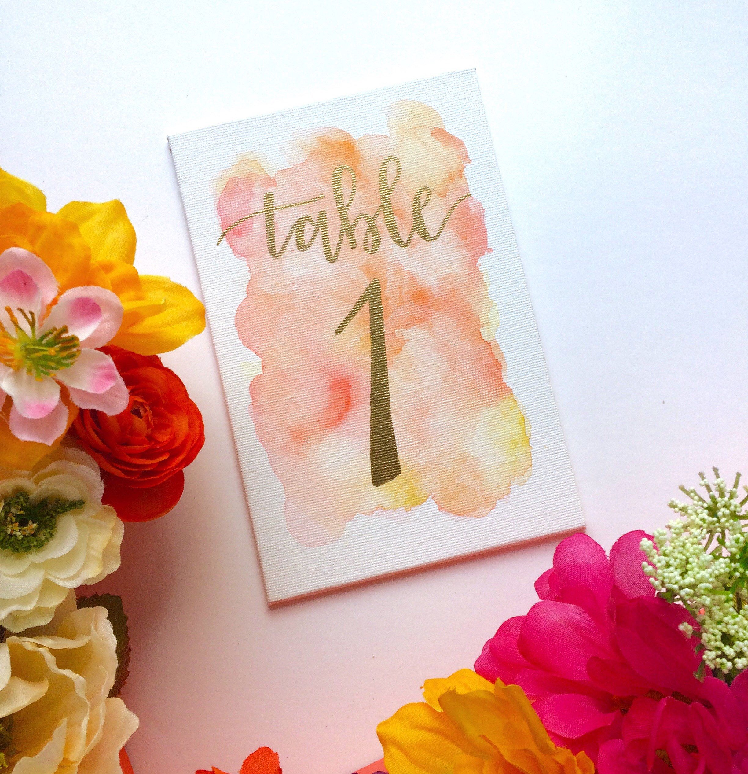 Watercolor wedding table numbers  Etsy shop https://www.etsy.com/listing/478399388/watercolor-wedding-table-numbers-panel