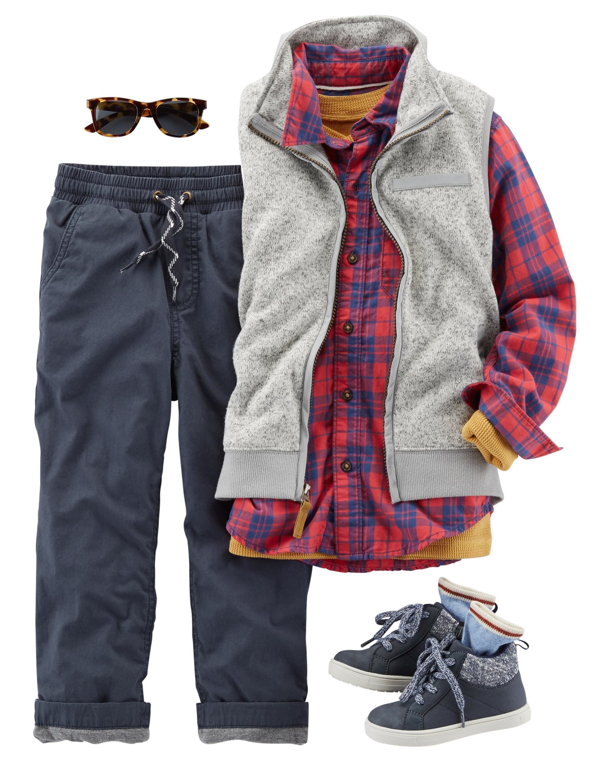 7f210c2c22 Mix and match with a plaid button-front and a long-sleeve henley. Pair with  jersey-lined utility pants and high-top sneakers to complete the look.