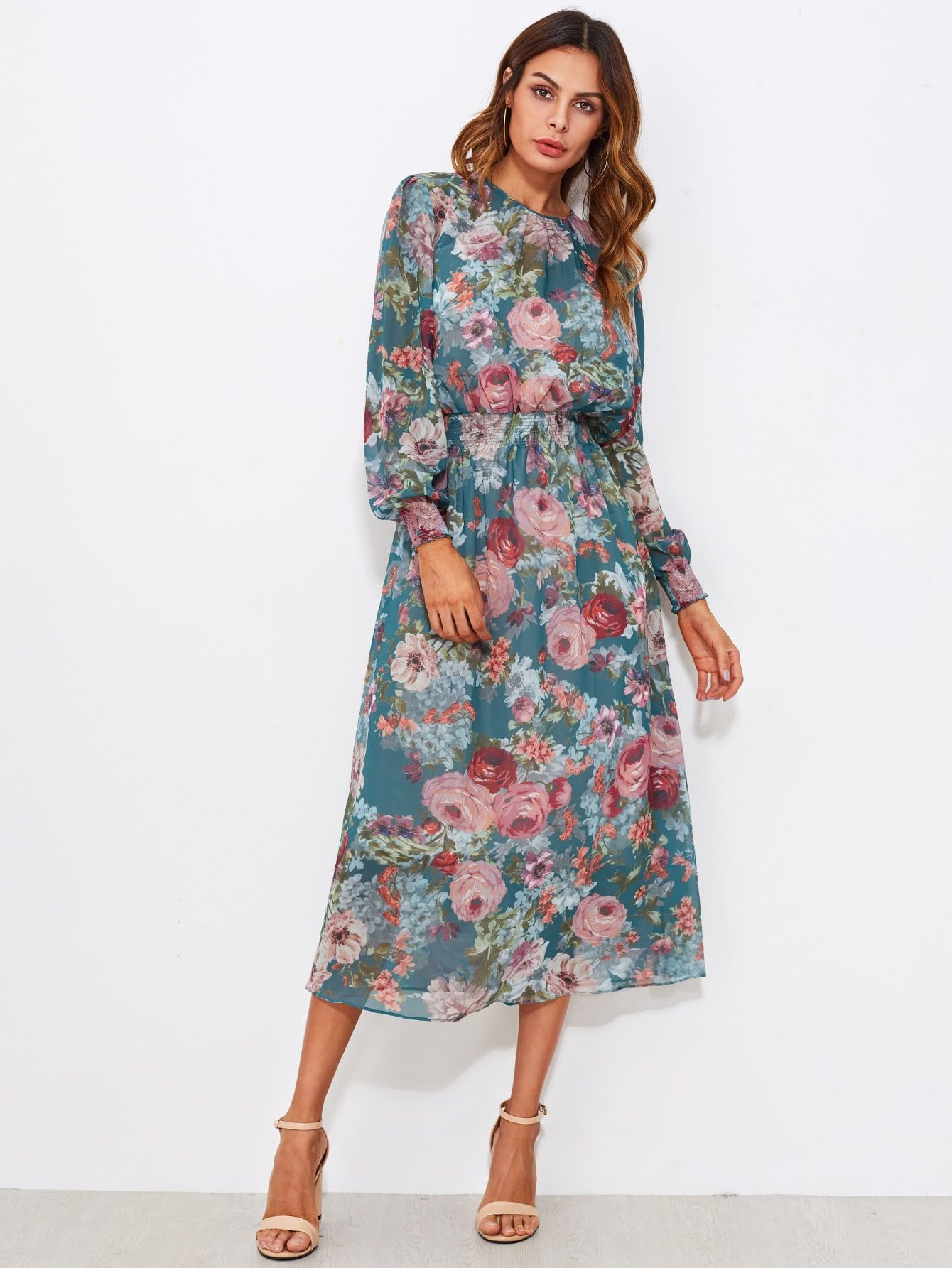 Smocked Trim Calico Print Midi Dress 2019 Elbiseler Kiyafet Ve Elbise Modelleri
