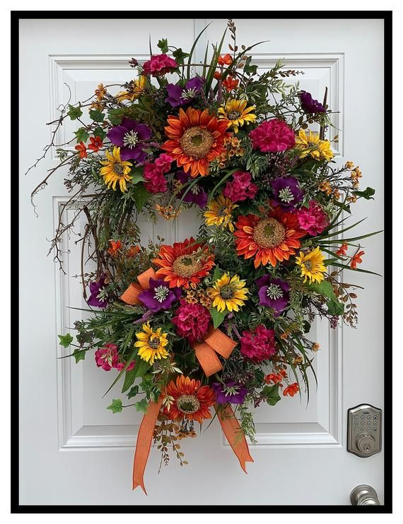 Photo of Large summer wreath for front door wreath, spring summer wreath for door, sunflower wreath, lively