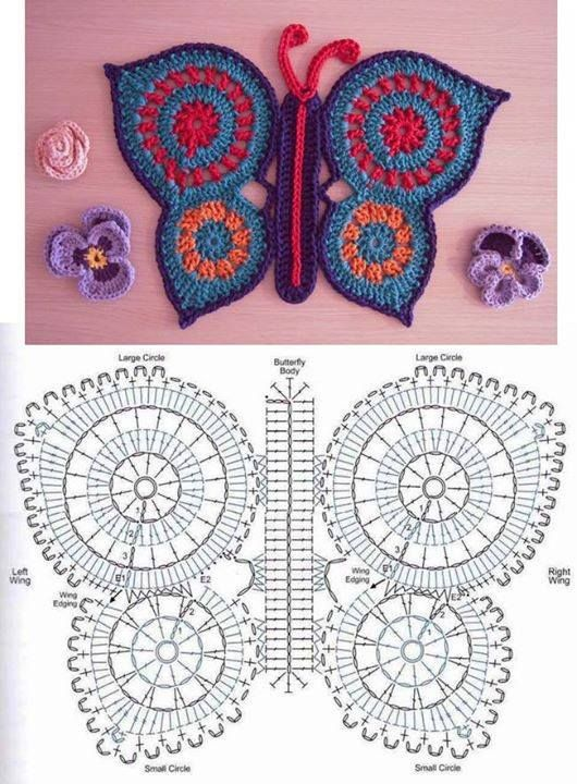 Solo esquemas y diseños de crochet: MAS MARIPOSAS | Patterns ...
