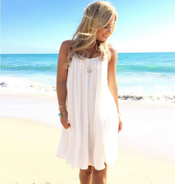 White Chiffon Front Silt Casual Style Backless Halter Top: Round Neck Sleeveless Solid Color Chiffon Lace Stitching