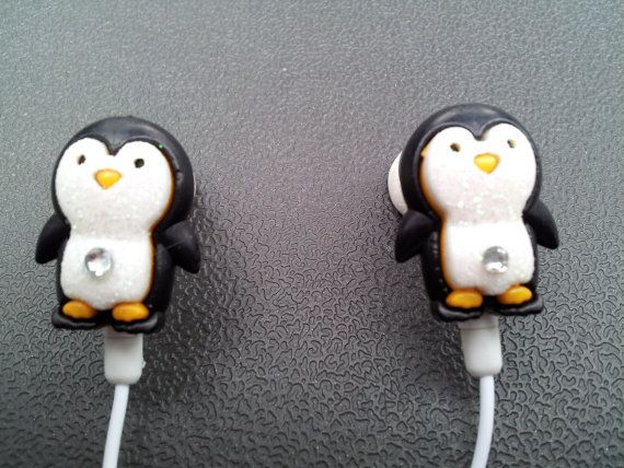 Penguin earbuds with glitter and a swarovski by ...