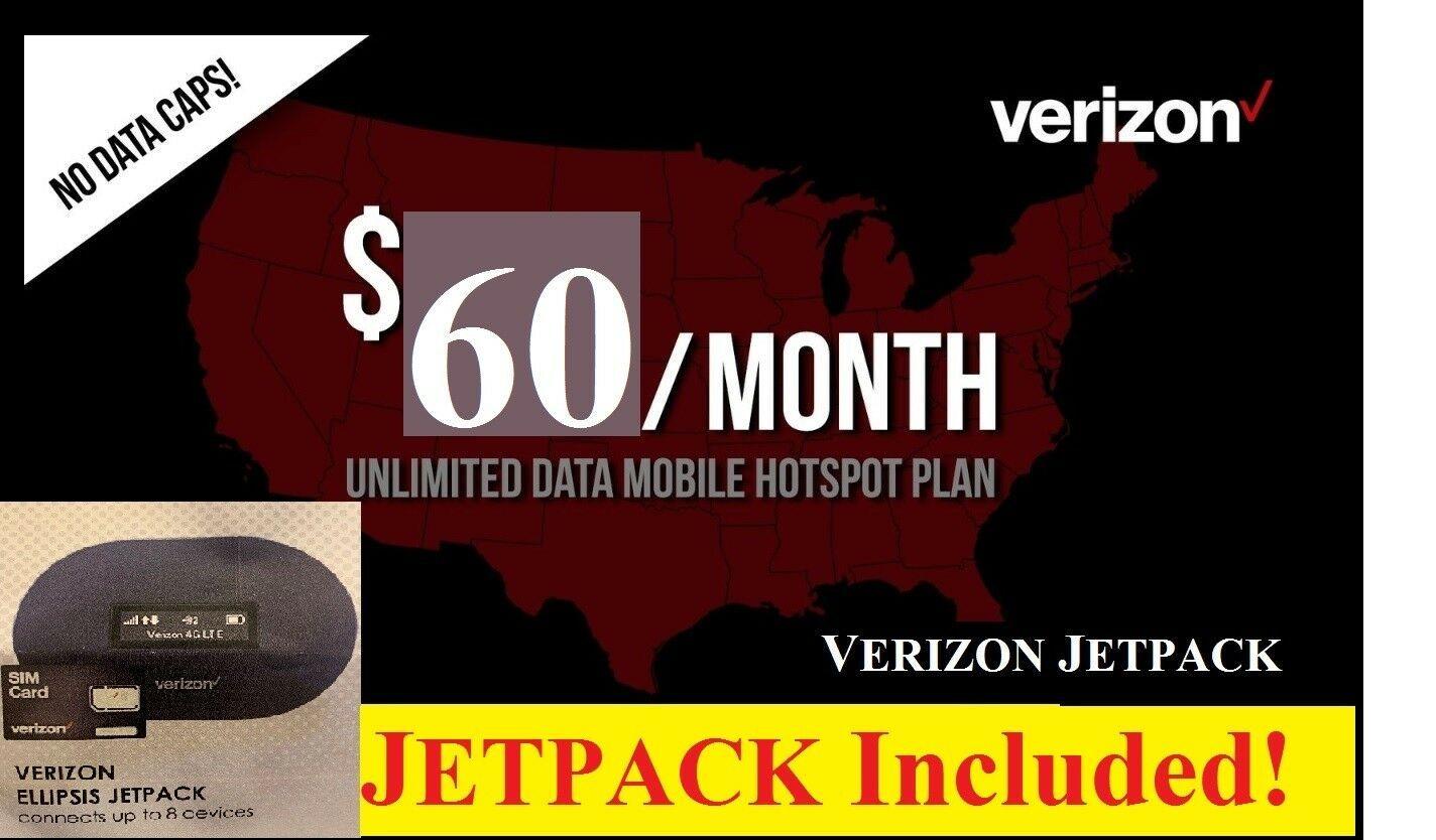 Verizon Jetpack 4G LTE Unlimited Data Mobile Hotspot $55 Verizon Prepaid Plan