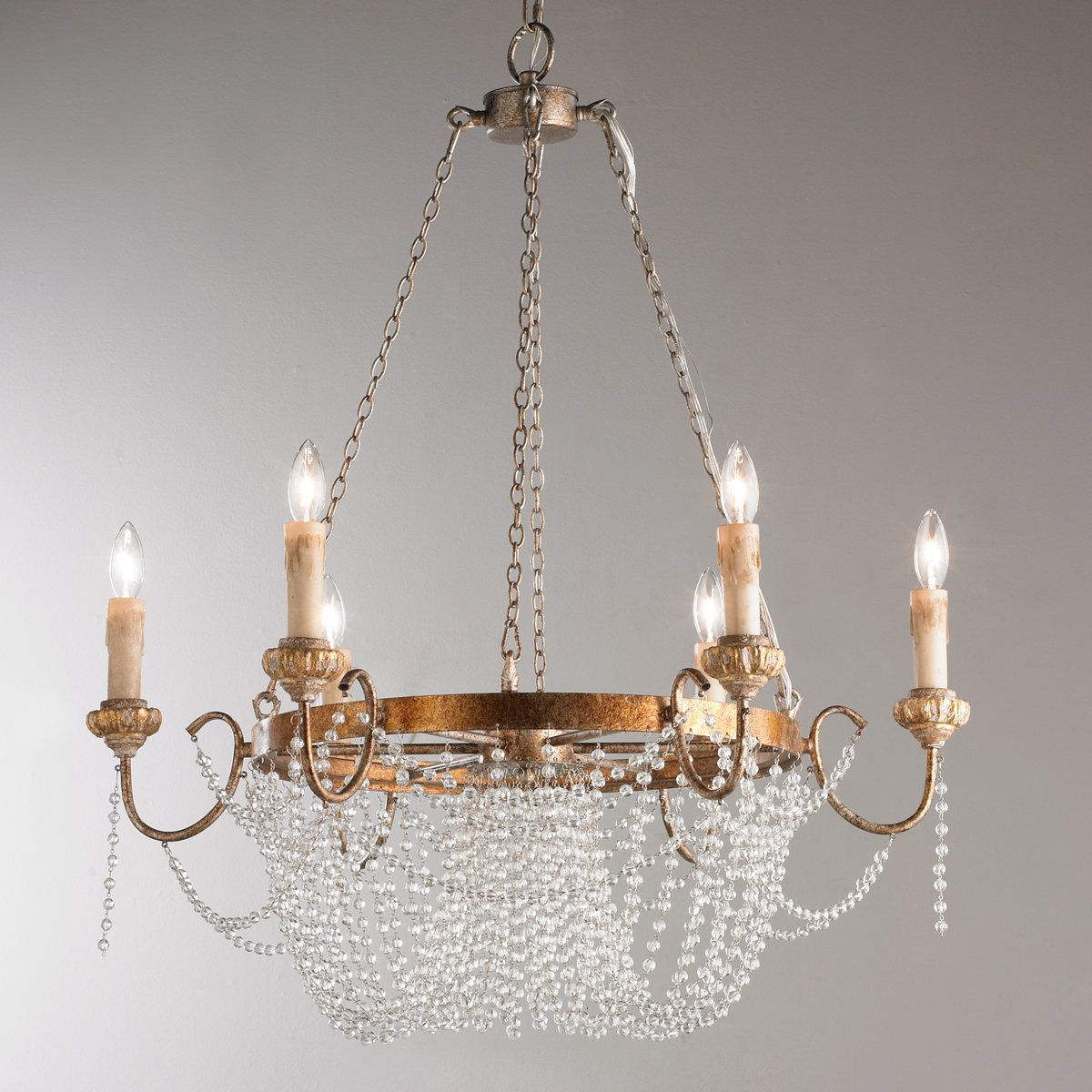Crystal Draped Iron Chandelier In 2021 Iron Chandeliers Crystal Chandelier Beaded Chandelier Metal chandelier with crystals