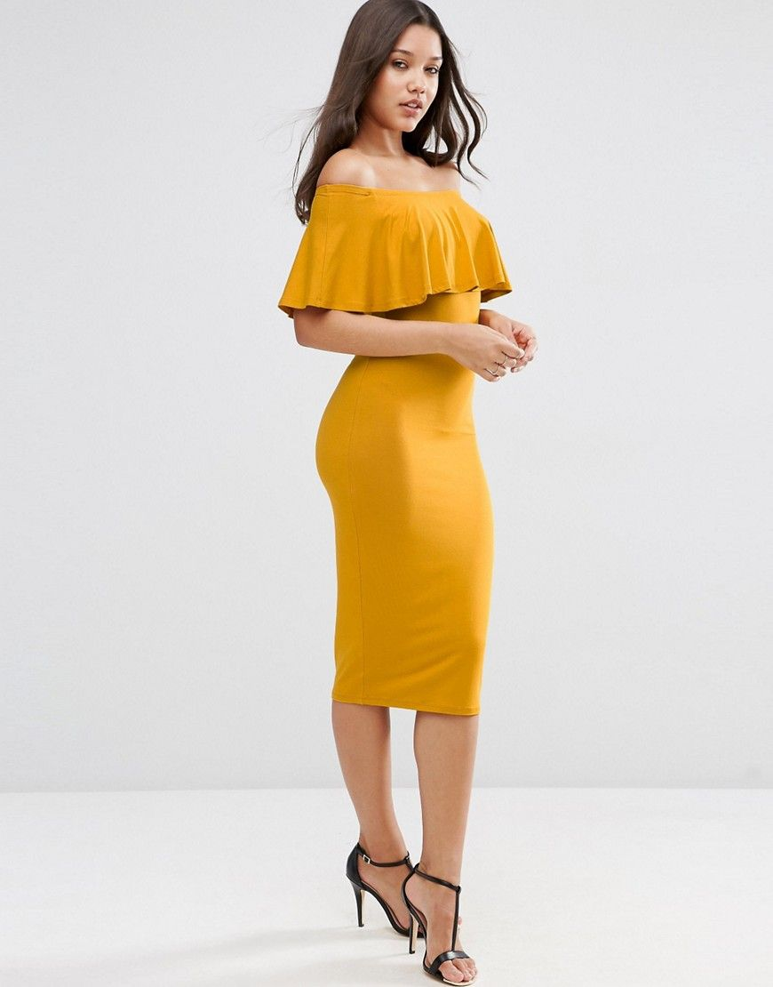 0ef7ce8863dc4 ASOS Ruffle Off Shoulder Bardot Pencil Midi Dress | Pregnancy ...