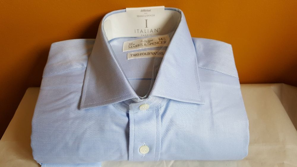 "Italian fabric baby BLUE straps superfine cotton M&S shirt 14.5"" Formal casual  #MarksSpencerMSItalianCollezione #BusinessRegularCollar"