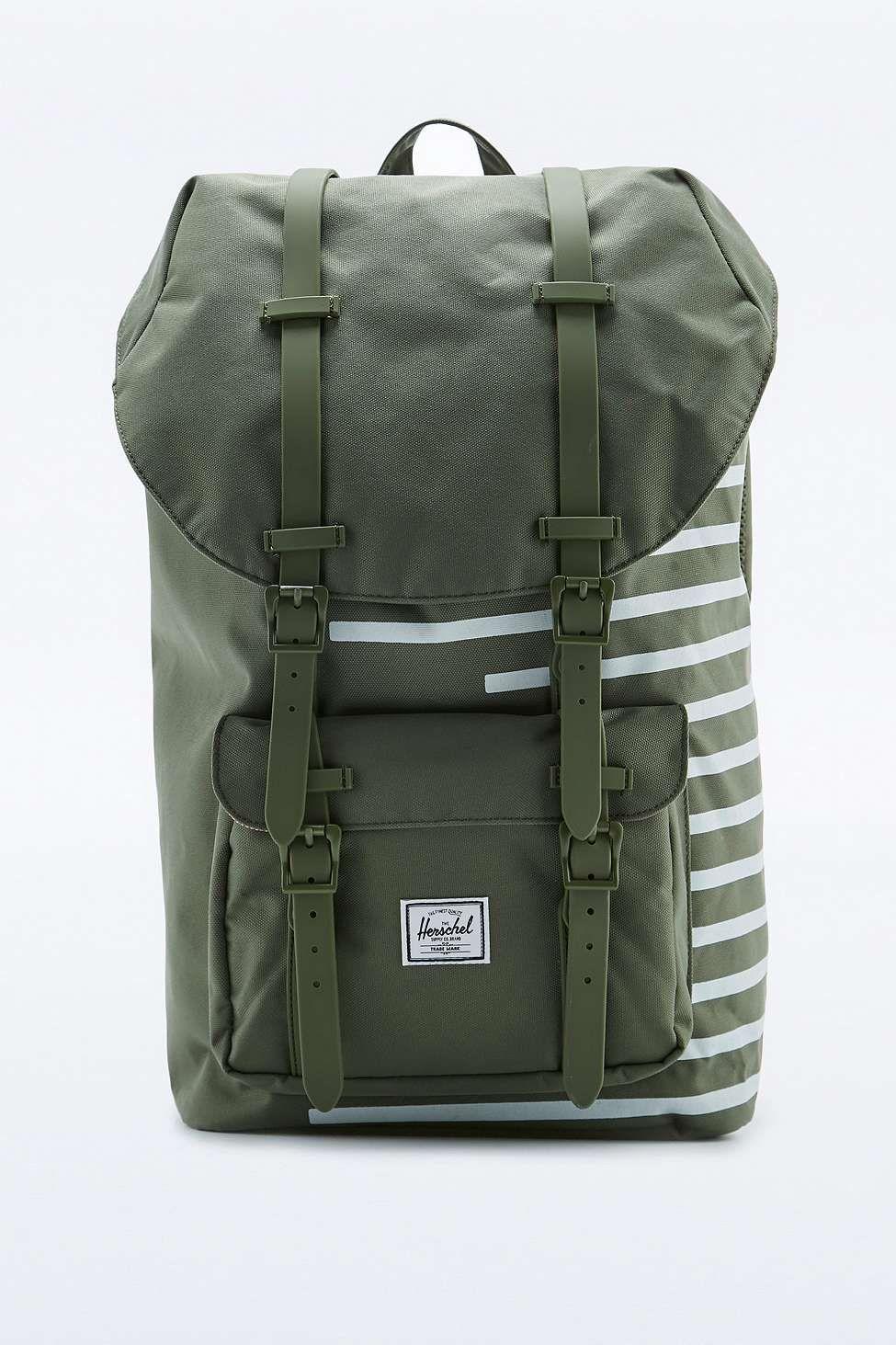 f387339573d Herschel Supply co. Little America Green Offset Stripe Backpack ...
