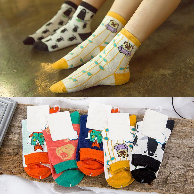 free shipping 150pairs/LOT Harajuku creative cartoon animal illustration cotton women girl school students short tube socks