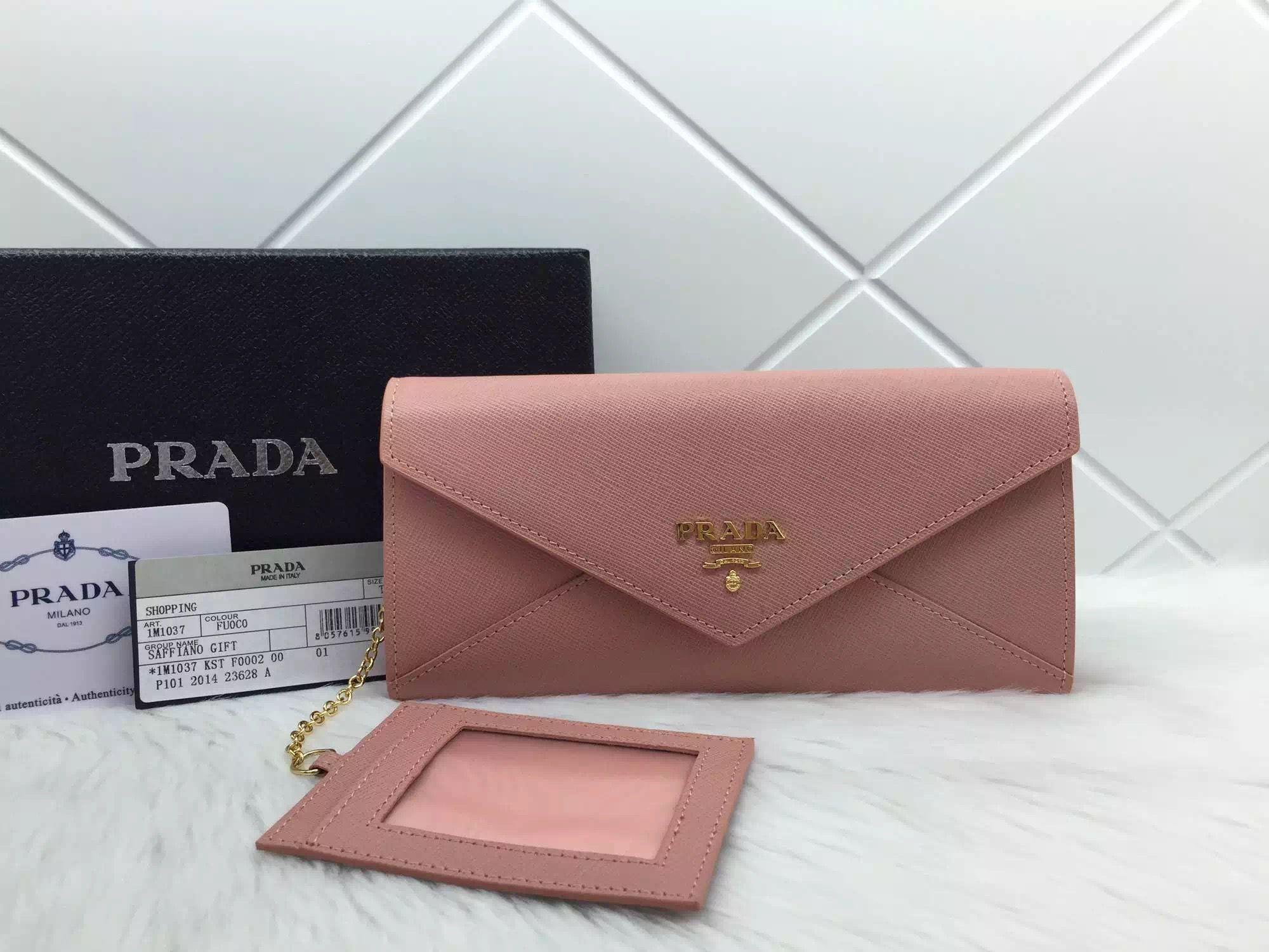 ac20c40e402a20 Prada 1M1037 Saffiano Letter Leather Wallet Nude Pink | Prada Bags ...