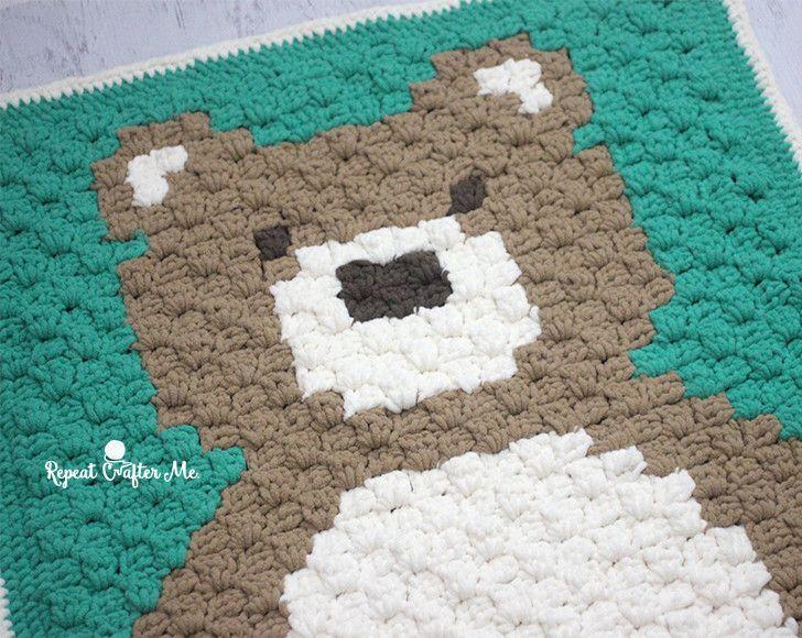 Crochet C2C Bernat Blanket Bear | Cobija, Cobijas de bebe y Manta bebé