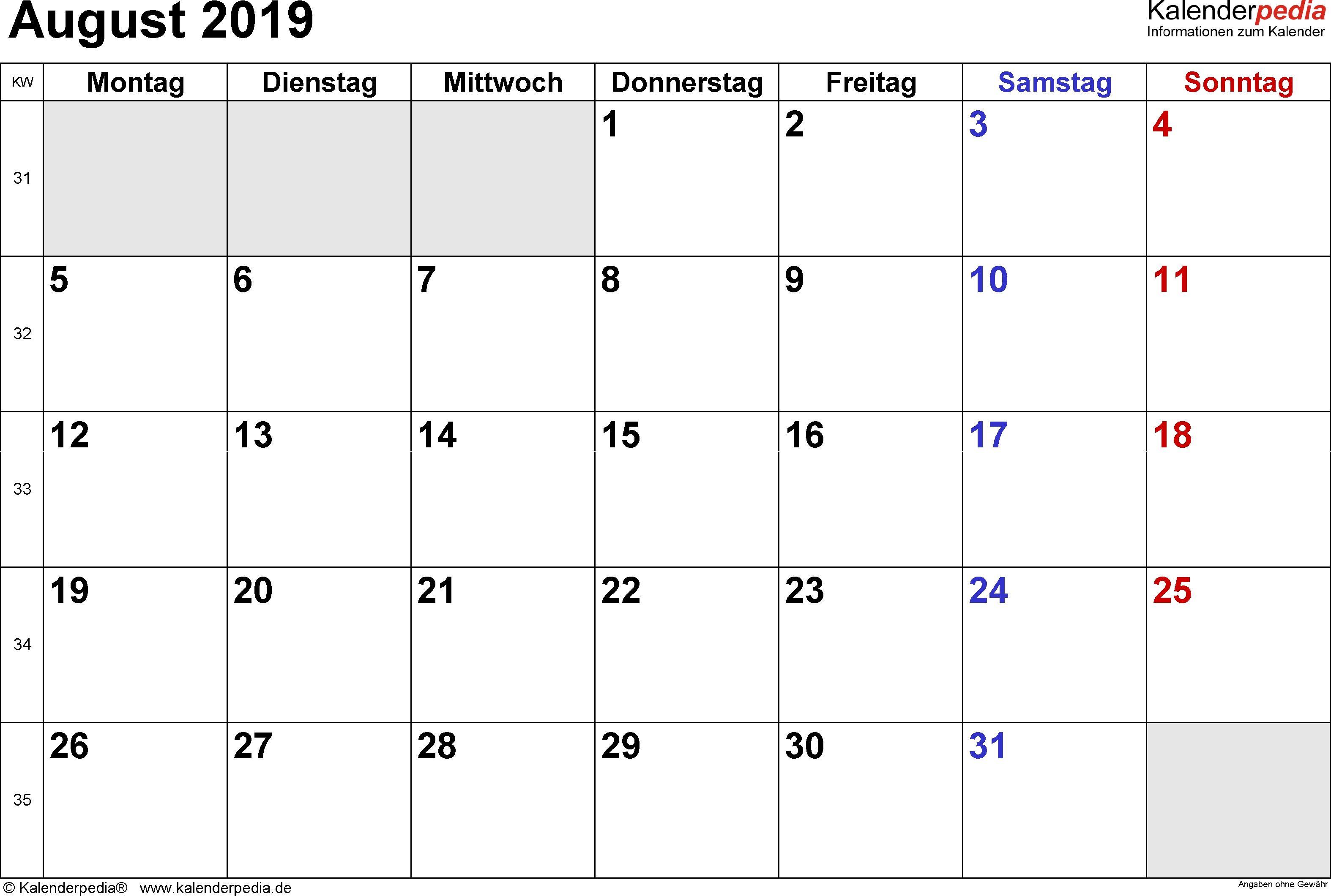 Kalender August 2019 Als Pdf Vorlagen Free Calendar 2019 Printable Monthly Calendar Printable Calendar Printables