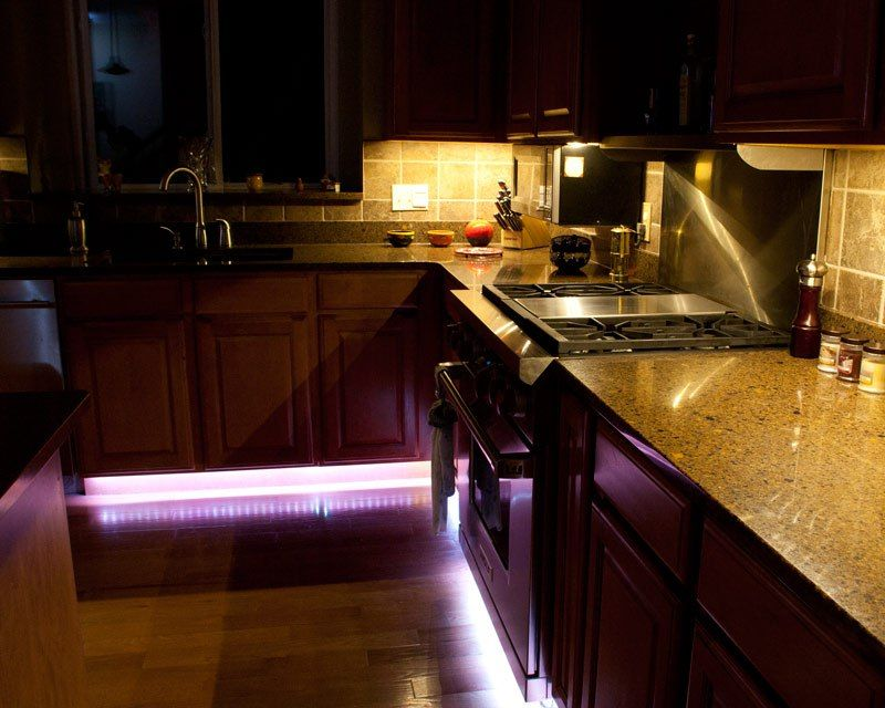 Under Kitchen Cabinet    By The Floor    LED Lighting. Or A Rope Light