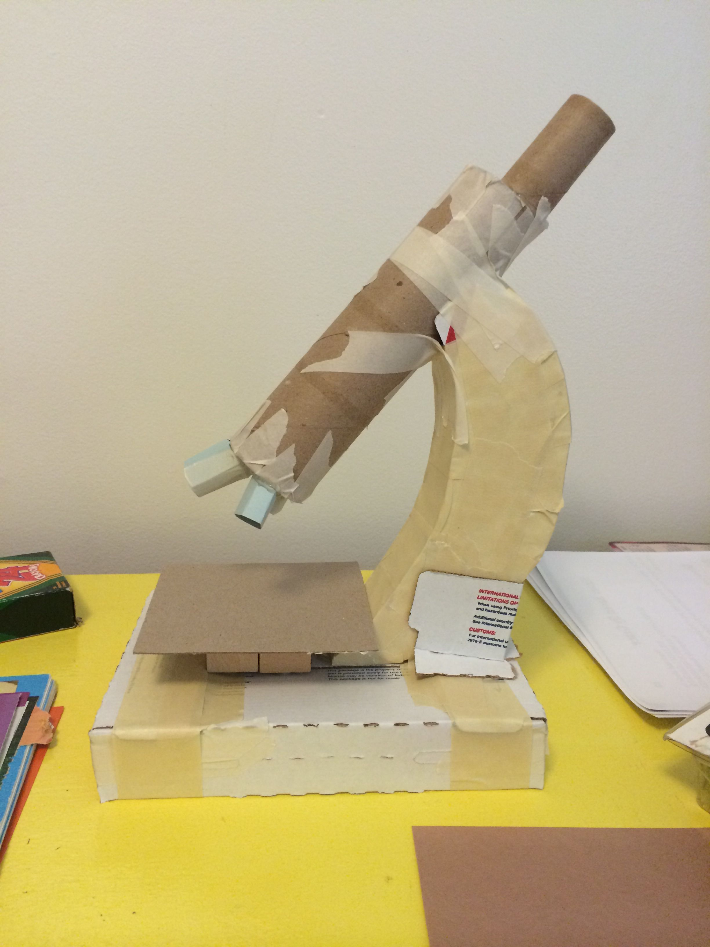 Microscope made from cardboard, masking tape, card stock ...