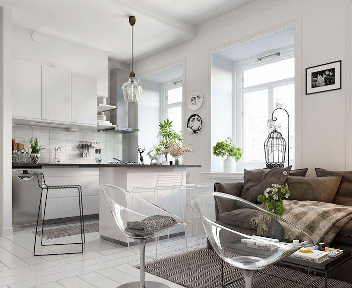 cuisine ouverte sur salon cocooning avec canap et coussins gris tapis noir et blanc - Cuisine Americaine Noir Et Blanc
