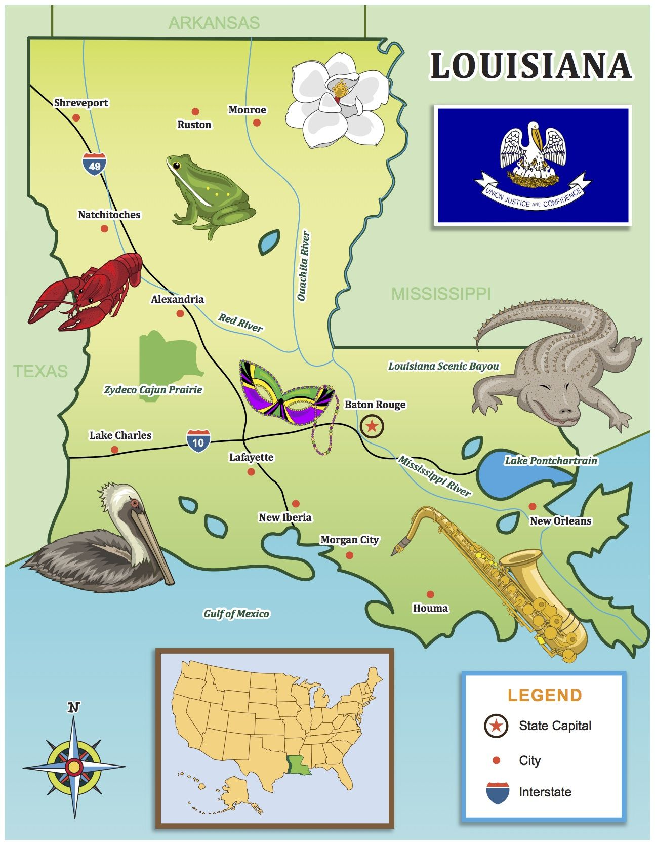 Use Our Kid Friendly State Map For Your Louisiana Travels