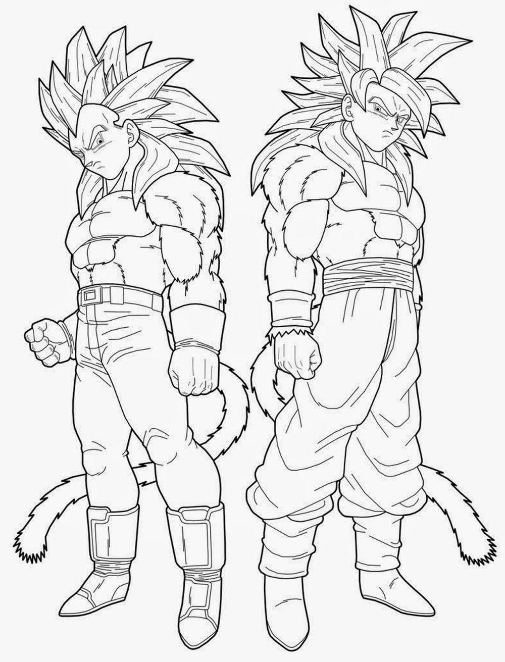 Dibujo de Goku y Vegeta fase 4 de drago | Imagen para colorear ...