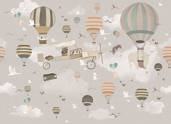 This Fantasy Hot Air Balloons Patterned Wallpaper Is Specially Designed And Custom Made To Fit Almost Any Kids Wall Murals Baby Room Wall Decor Playroom Mural