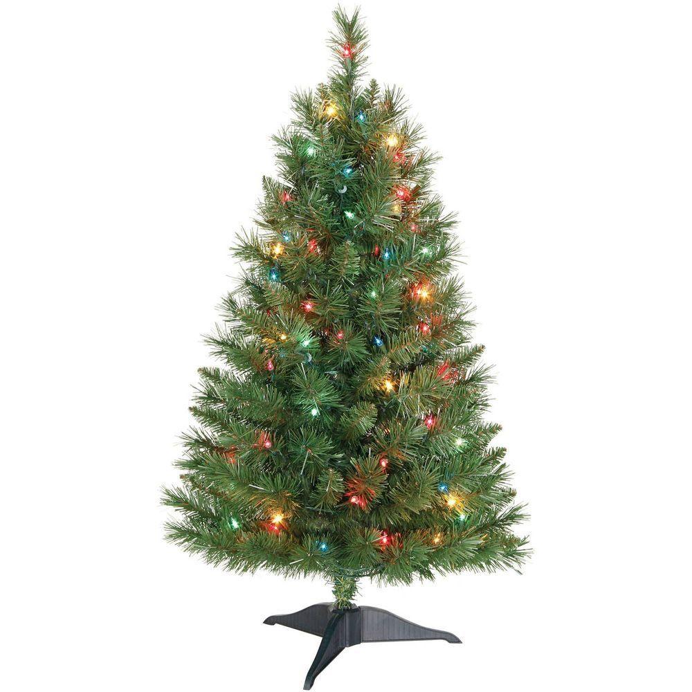 3\' Christmas Tree Pre-Lit Small Artificial Pine Multi Color Lights ...