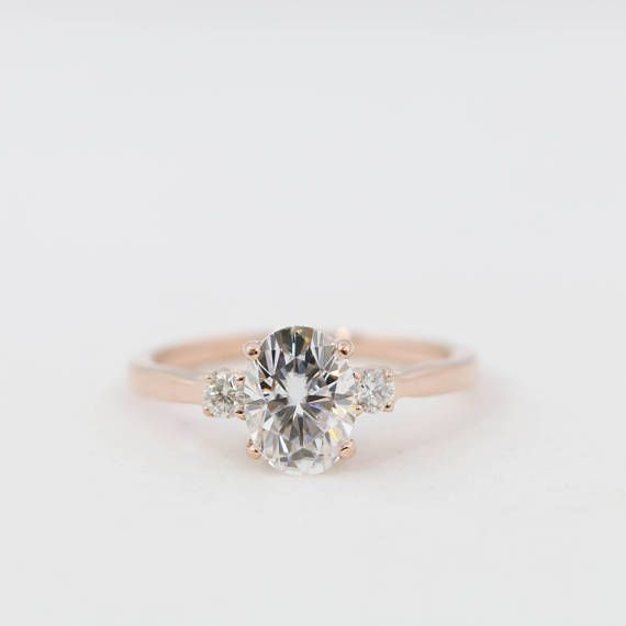 5af72bced39a3 Oval Moissanite Engagement Ring // Oval Morganite Engagement Ring ...