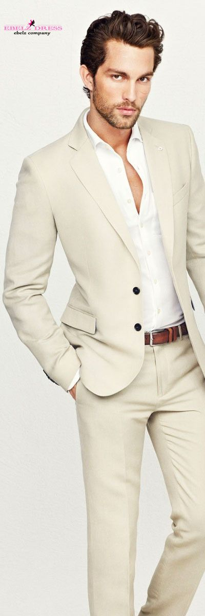 2015 Costume Three Piece Summer Beach Straight Beige Slim Fit Men ...