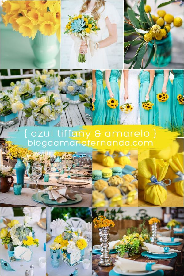 Decoração de Casamento   Paleta de Cores Azul Tiffany e Amarelo ... 6efc04ee73