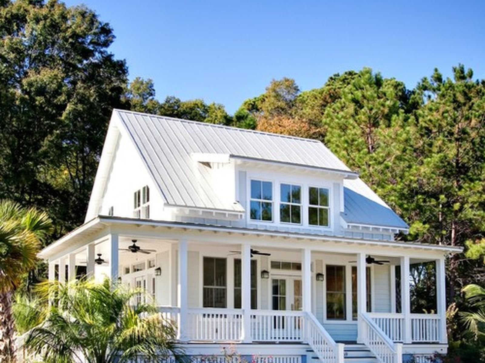 White house with tin roof and wrap around porch | House ...